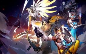 Picture Blizzard Entertainment, Hanzo, Overwatch, Tracer, Mercy, Reinhardt, Symmetra