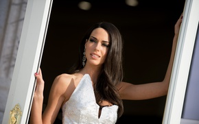 Picture girl, earrings, mouth, makeup, dress, brunette, Ismini Dafopoulou
