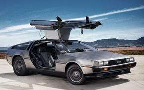 Picture the sky, door, DeLorean, DMC-12, the front, Prototype 2011, gull-wing, the DeLorean