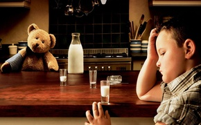 Wallpaper sadness, child, bear, milk