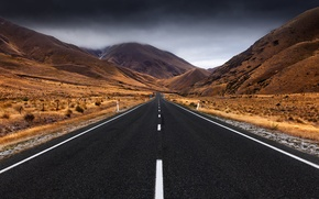 Picture road, the storm, clouds, mountains, New Zealand, South island, Lindis Pass