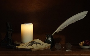 Picture pen, Candle, glasses, book
