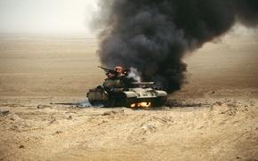 Wallpaper fire, war, T-54, tank, Iraq