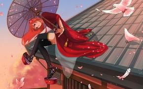 Picture roof, girl, home, umbrella, anime, feathers, petals, art, pigeons, kimono, gintama, kagura, marmalade, elfless vanilla
