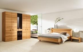 Wallpaper sea, glass, leaves, flowers, tree, bed, the door, lamp, vase, wardrobe, sunbed, bedroom, stand