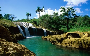 Picture river, palm trees, waterfall