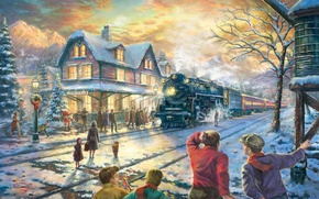 Picture winter, snow, lights, house, holiday, train, spruce, station, the evening, Christmas, railroad, New year, tree, …