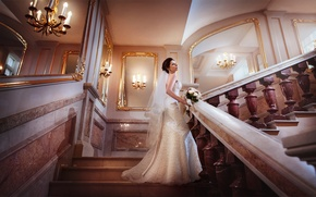 Picture bouquet, dress, brunette, ladder, the bride