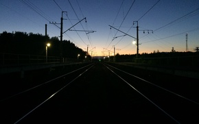 Picture Road, Night, The way, Rails, Railroad