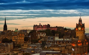 Picture lights, the evening, twilight, Edinburgh