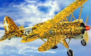 Picture war, art, airplane, painting, aviation, biplane, Fiat CR.42 Falco