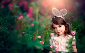 Picture flowers, girl, ears, child photography, Garden Flower