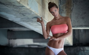 Wallpaper chest, girl, photo, body, figure, girl, briefs, sports, top, fitness, model, press, Rafael Atempa