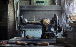 Picture background, junk, Sewing machine