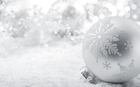 Wallpaper toy, New Year, holidays, snow, white, snowflakes, Christmas, bokeh, New Year, Christmas, ball, Christmas