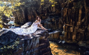 Picture river, mood, rocks, feet, dress, Asian, the bride