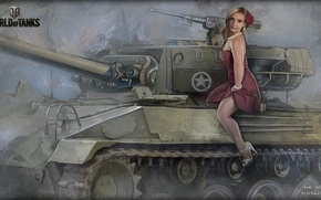 Picture girl, tank, beads, girl, tanks, WoT, World of tanks, tank, World of Tanks, tanks, Wargaming.Net, …