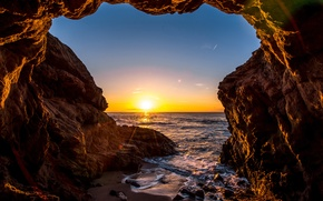 Picture wave, the sky, the sun, rays, sunset, stones, the ocean, rocks, shore, CA, USA, Malibu, …