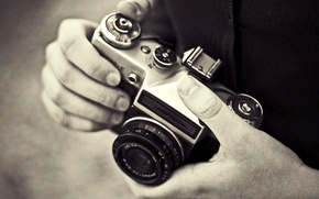 Picture photo, background, Wallpaper, black and white, hands, the camera, photographer, picture