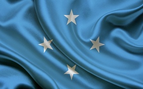 Picture Flag, Blue, Texture, Stars, Flag, Satin, Satin, Micronesia, The Federated States Of Micronesia, Federal States …