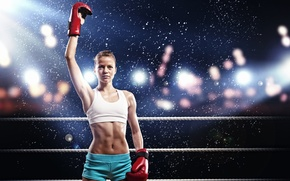 Picture sport, the ring, girl, Boxing