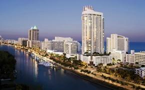Picture the ocean, skyscrapers, America, USA, skyscrapers, Miami, us state