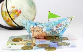 Picture creative, map, money, positive, blur, coins, boat, globe, bokeh, composition, paper, paper, travel, wallpaper., coins, …