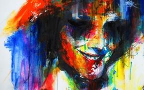 Picture abstraction, face, smile, paint, portrait