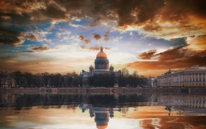 Wallpaper autumn, landscape, the city, reflection, river, SPb, Andrey Mikhailov