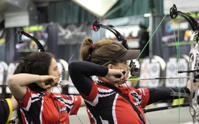 Wallpaper arrows, archery, women, shooting