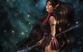 Wallpaper girl, hair, elf, fantasy, beauty, MAG, staff