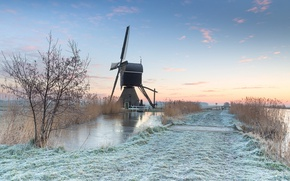 Picture field, morning, mill