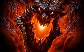 Wallpaper fire, jaw, teeth, dragon