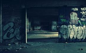 Wallpaper graffiti, unfinished, wall