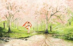 Picture girl, lake, spring, garden, art, Apple, painted landscape
