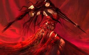 Wallpaper girl, red, fantasy, figure