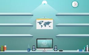 Picture mac, design, shelves, flat, fred-design