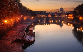 Picture the sky, clouds, sunset, reflection, lamp, boat, mirror, Rome, lights, The Vatican, St. Peter's Basilica, …