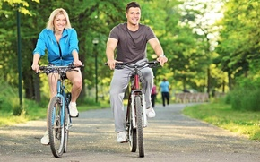 Picture sport, woman, male, walk, health, bikes