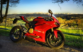 Picture landscape, red, motorcycle, Ducati, superbike