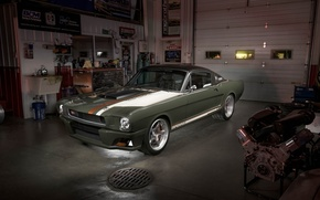 Picture mustang, ford, with, brushed, recoil, ringbrothers, dark clear garage