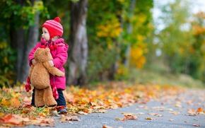 Picture road, autumn, trees, children, childhood, child, road, trees, autumn, child, teddy bear, childhood, children, little …