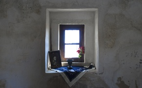 Picture rose, island, window, picture, darkness, shadow, kos, worship, sunray