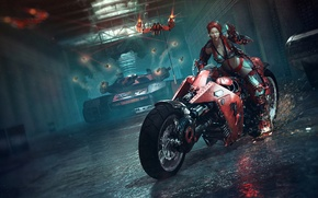 Picture weapons, Catalin Obreja, the tunnel, art, lasers, sparks, motorcycle, red, girl, tank, glasses
