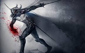 Picture weapons, blood, sword, art, helmet, dark knight, sakimichan
