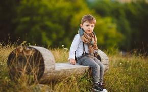 Picture Boy, Look, Bench, Children, Jeans