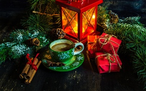 Wallpaper branches, holiday, new year, coffee, Christmas, spruce, lantern, Cup, gifts, tree, cinnamon, bumps, pine, spices, ...
