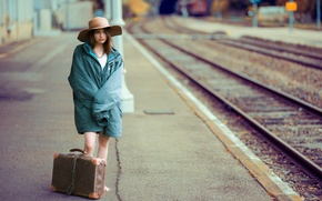 Picture girl, station, suitcases