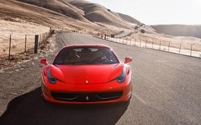 Picture road, the sky, the fence, red, ferrari, Ferrari, Italy, the front, 458 italia