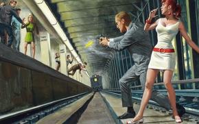 Picture metro, train, shootout, kopeck piece